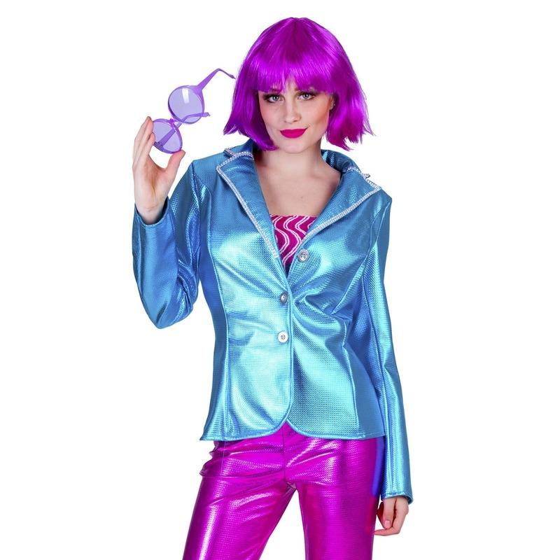 Blauwe disco seventies verkleed colbert/jasje voor dames