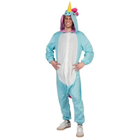 Blauwe eenhoorn dieren onesie/kostuum voor heren