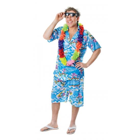 Blauwe Hawaii blouse en shorts voor heren