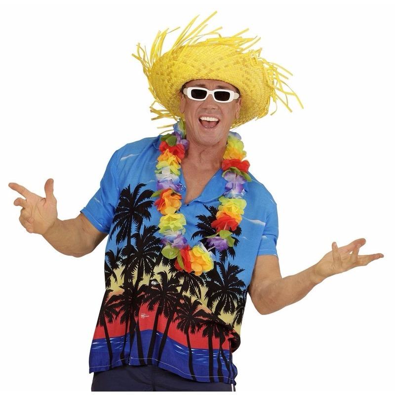 Blauwe Hawaii verkleed blouse met palmboomprint voor heren