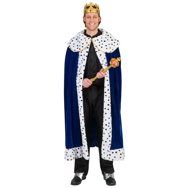 Blauwe koning cape/mantel voor volwassenen