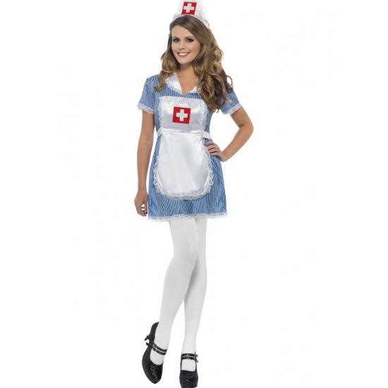 Blauwe/witte zuster verkleed kostuum/jurk voor dames
