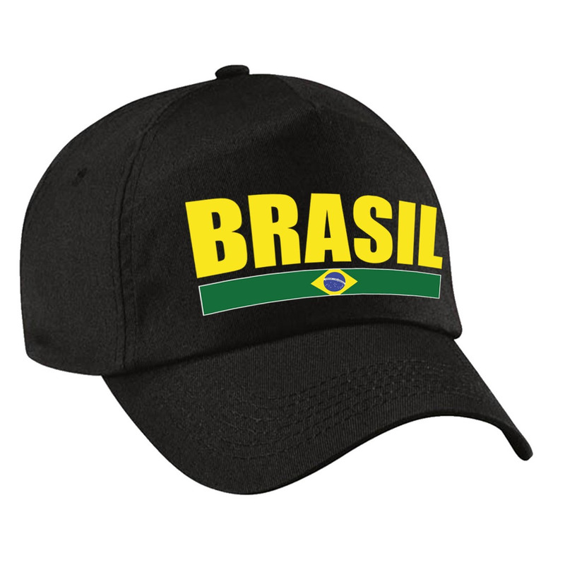 Brasil supporter pet - cap Brazilie zwart kids
