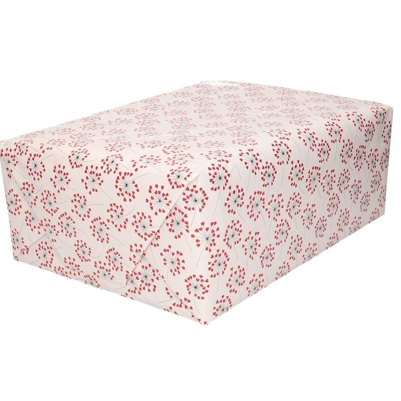 Bruiloft inpakpapier/cadeaupapier hartjes print 200 x 70 cm rol