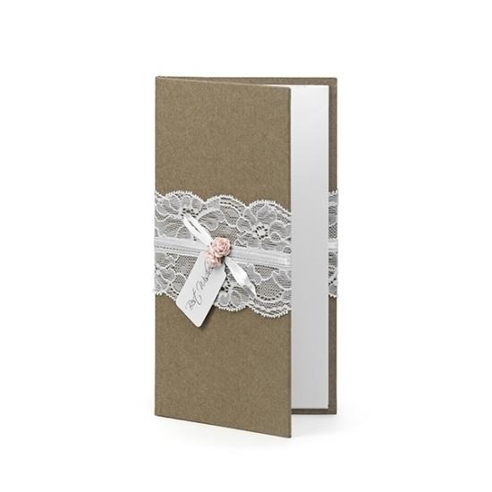 Bruin bruiloft gastenboekje met kant