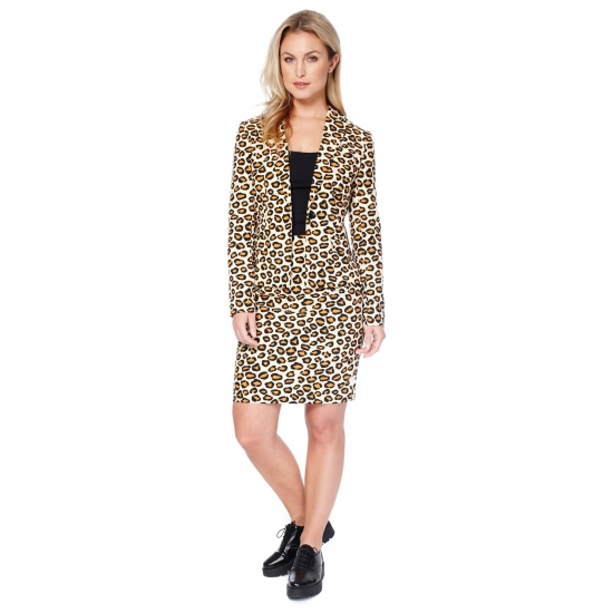 Bruin dames kostuum met luipaard print