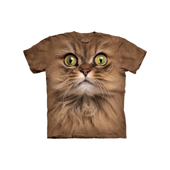 Bruin katten T-shirt met groene ogen voor volwassenen