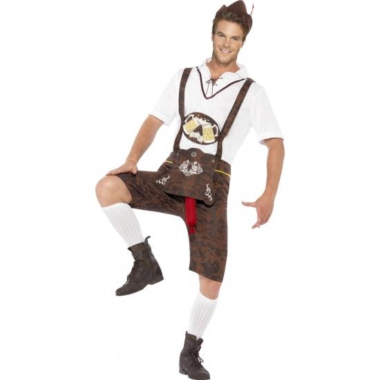 Bruine funny Tiroler lederhosen kostuum/broek voor heren