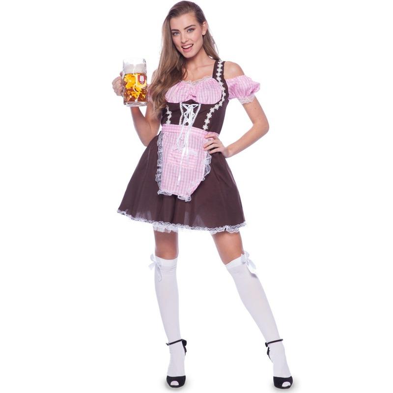Bruine/roze Tiroler dirndl verkleed kostuum/jurkje voor dames