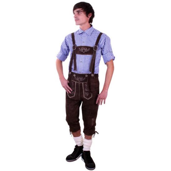 Bruine Tiroler lange lederhosen verkleed kostuum voor heren