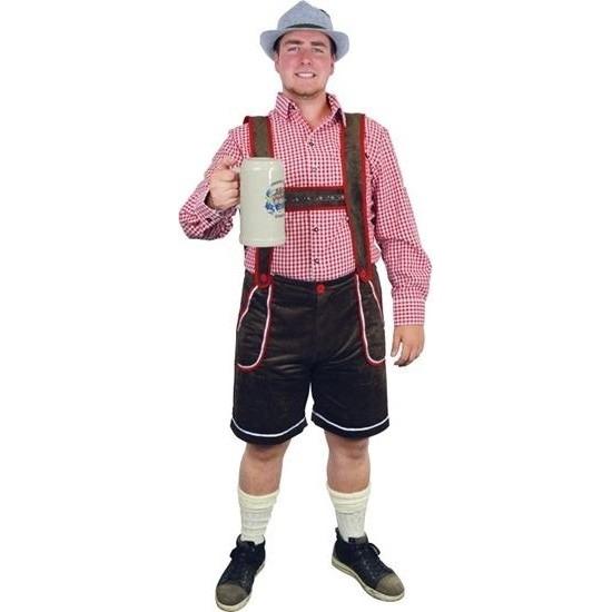 Bruine Tiroler lederhosen verkleed kostuum/broek voor heren