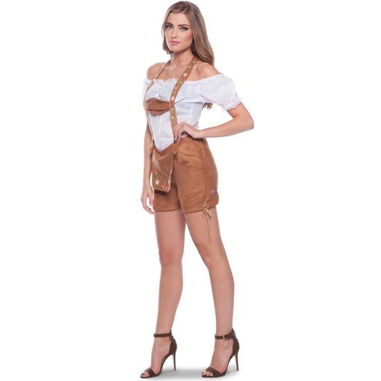 Bruine Tiroler lederhosen verkleed kostuum/broekje voor dames