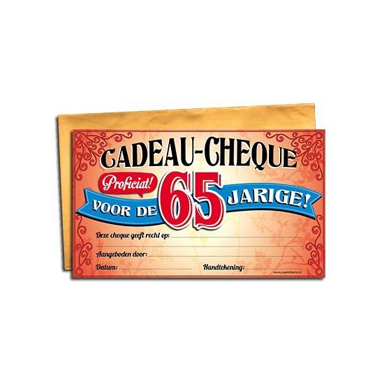 Cadeau cheque 65 jaar 20 x 34 cm