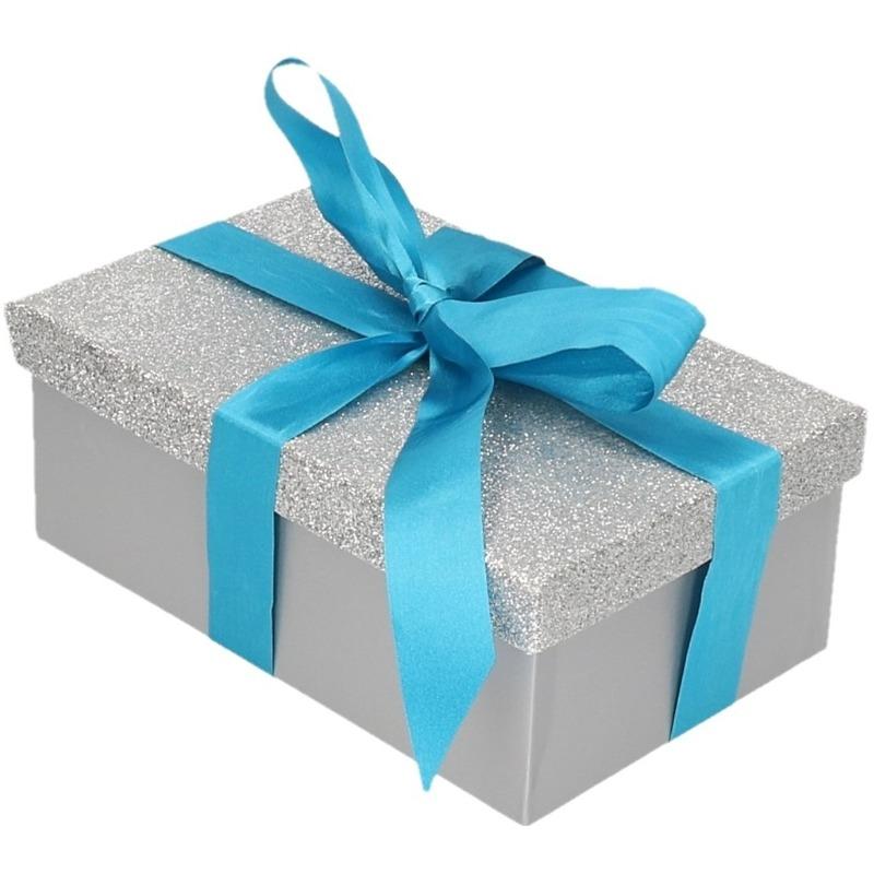 Cadeau gift box zilver glitter 15 x 9 cm en blauw kadolint