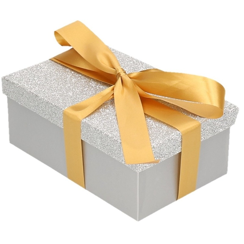 Cadeau gift box zilver glitter 17 x 11 cm en goud kadolint