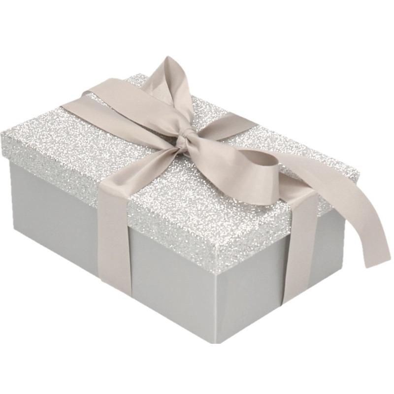 Cadeau gift box zilver glitter 7 x 8 cm en zilver kadolint
