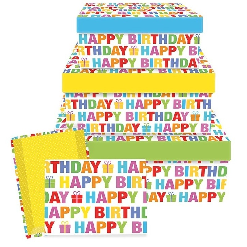 Cadeaudoosje Happy Birthday 26 cm