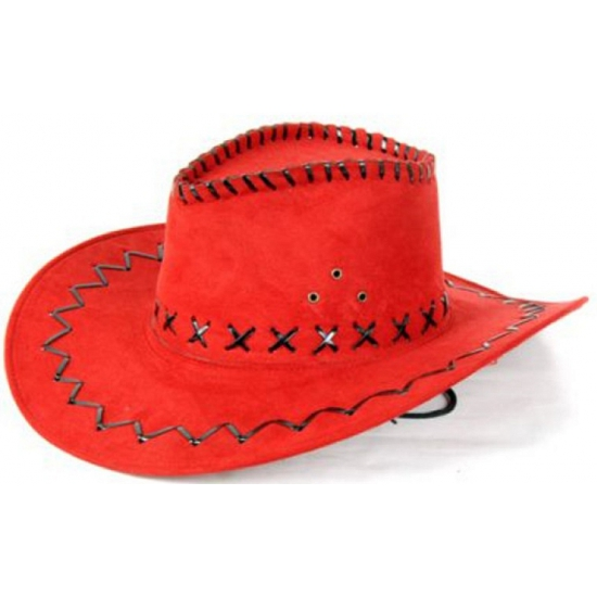 Carnaval cowboyhoed rood lederlook