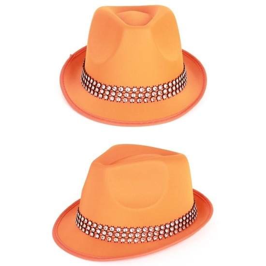 Carnaval oranje hoed met stenen
