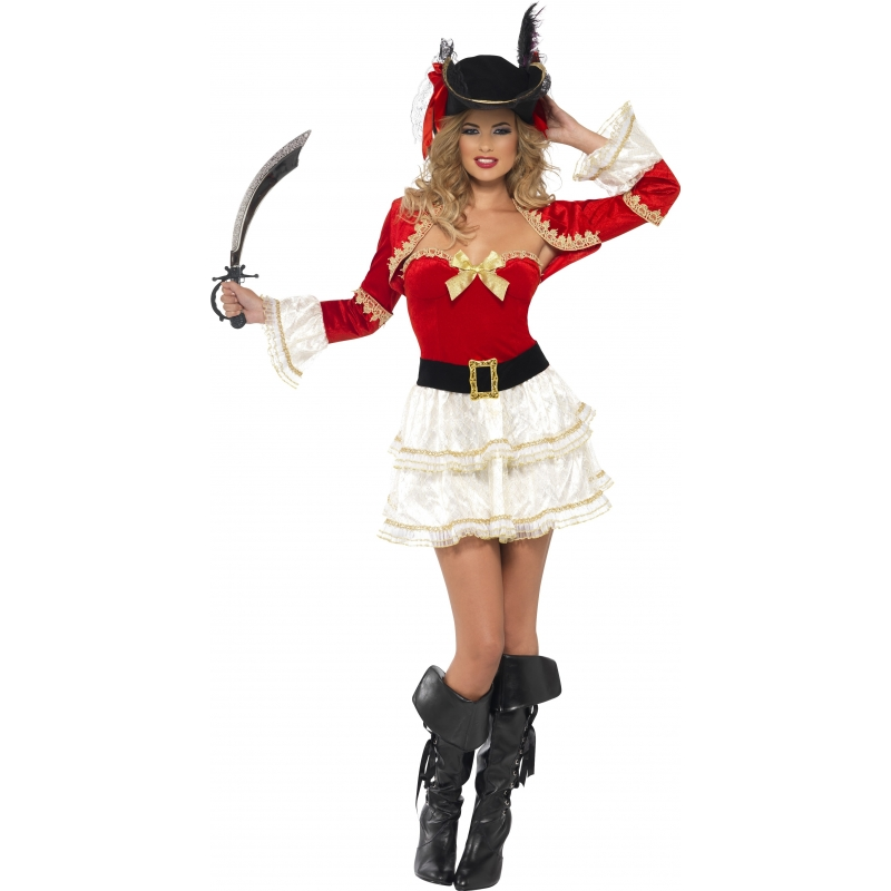 Carnavals piraten outfit voor dames rood