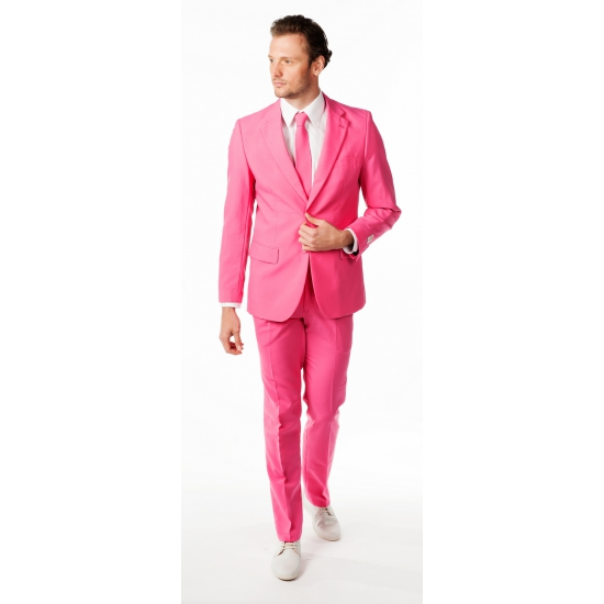 Carnavalskleding heren pak roze getailleerd