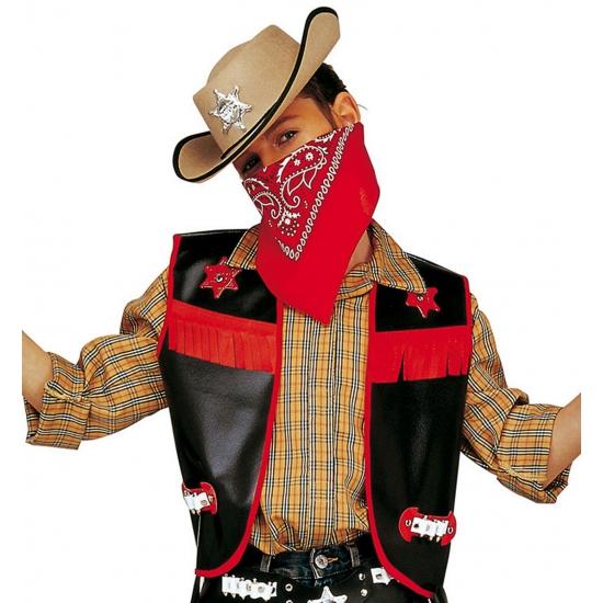Carnavalskleding zwart cowboy vestje voor kids