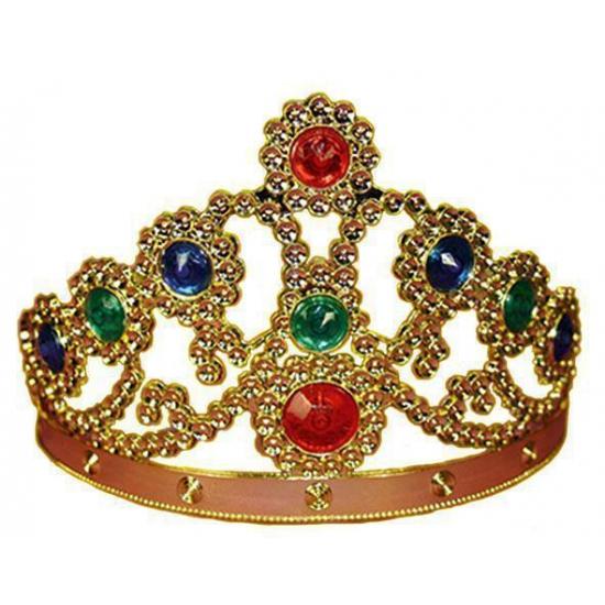 Merkloos Carnavalskostuum gouden kroon met gekleurde steentjes