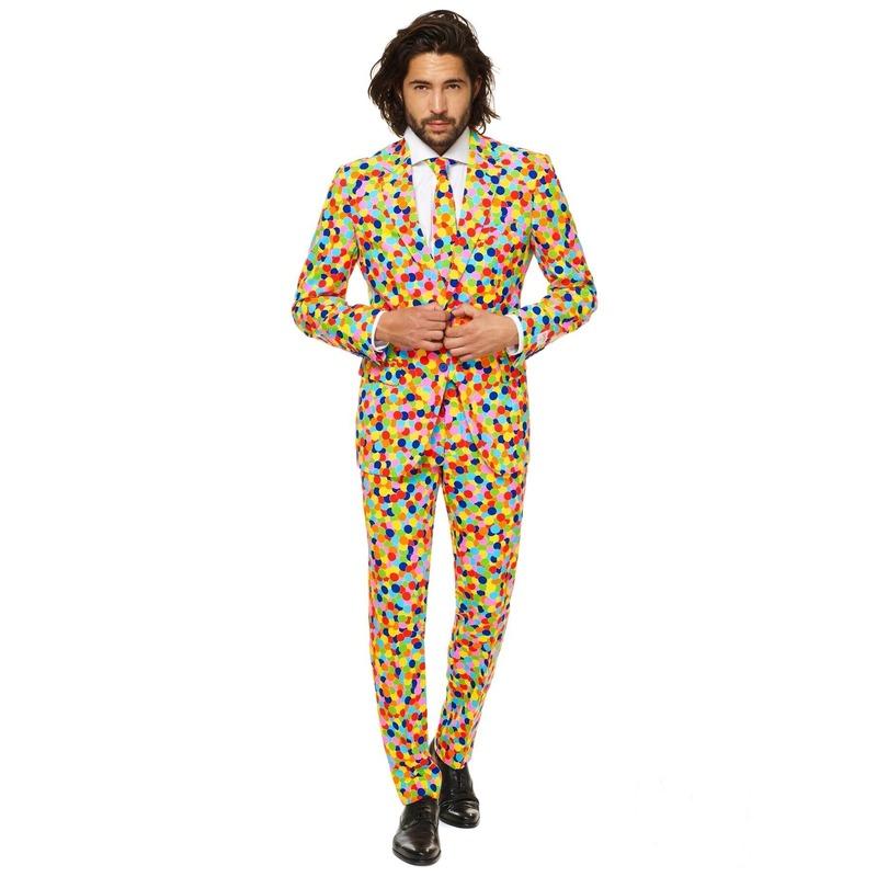 Carnavalspak confetti print voor heren