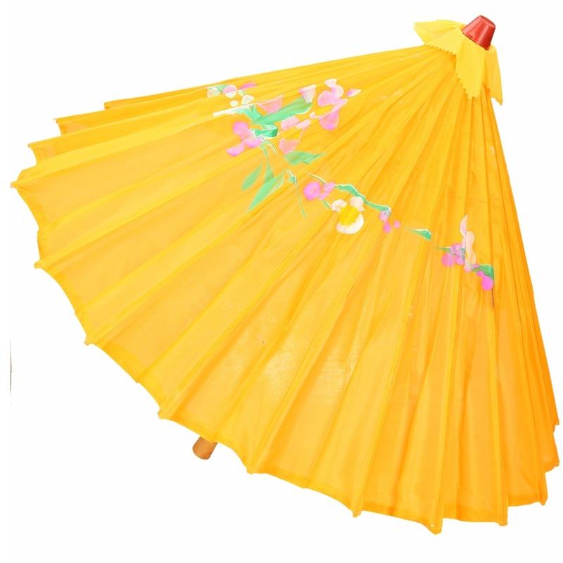 Chinese paraplu oranje/geel 40 cm