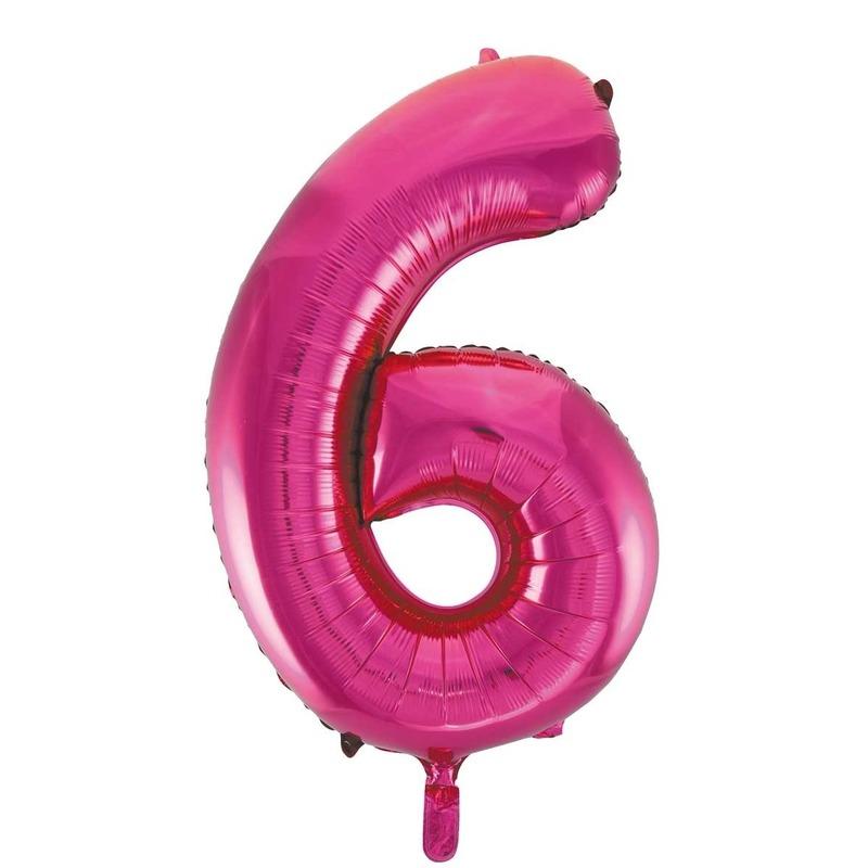 Cijfer 6 folie ballon roze van 86 cm
