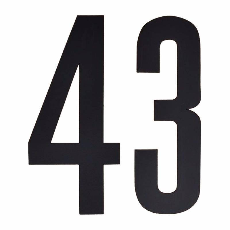 Cijfer sticker 43 zwart 10 cm