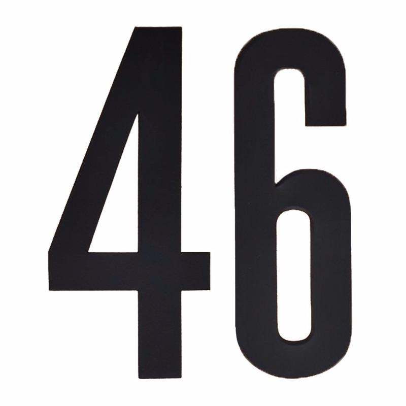 Cijfer sticker 46 zwart 10 cm