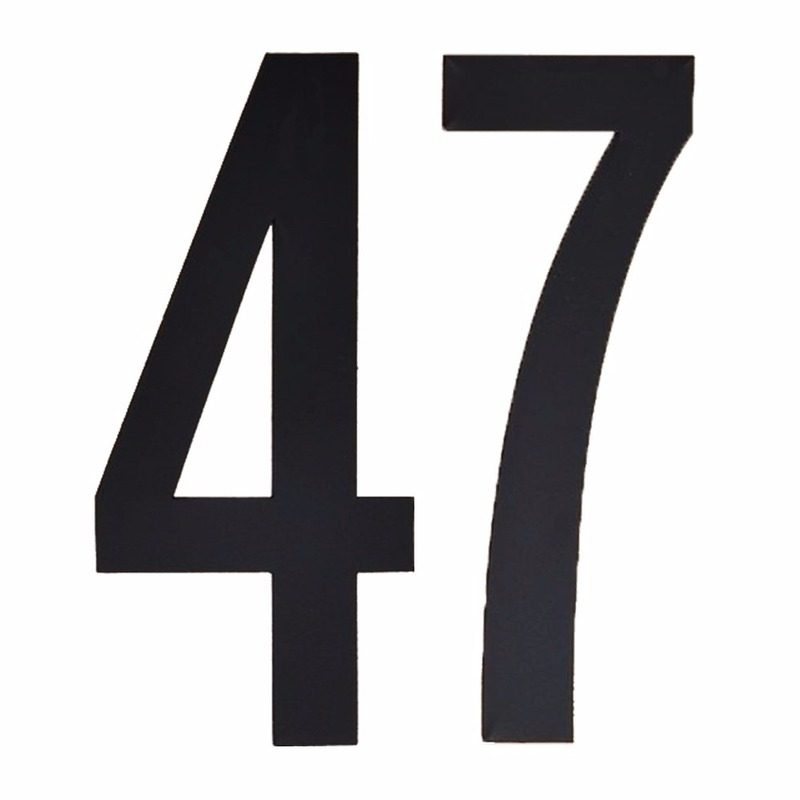 Cijfer sticker 47 zwart 10 cm