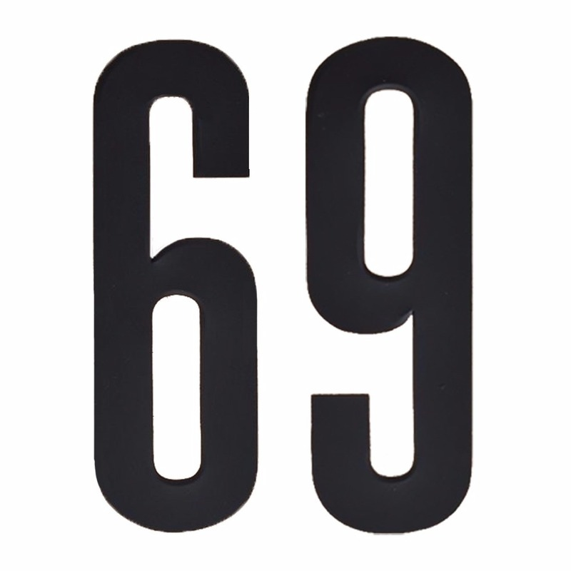 Cijfer sticker 69 zwart 10 cm
