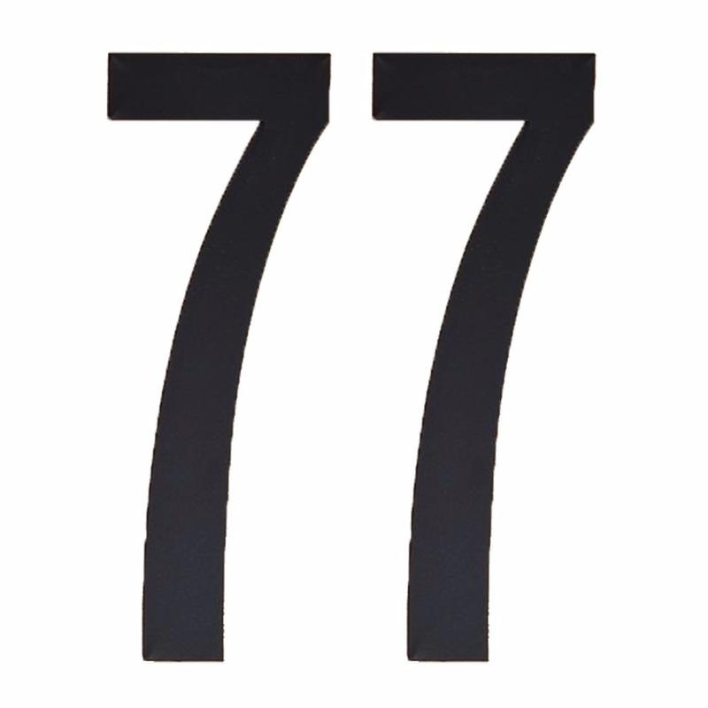 Cijfer sticker 77 zwart 10 cm