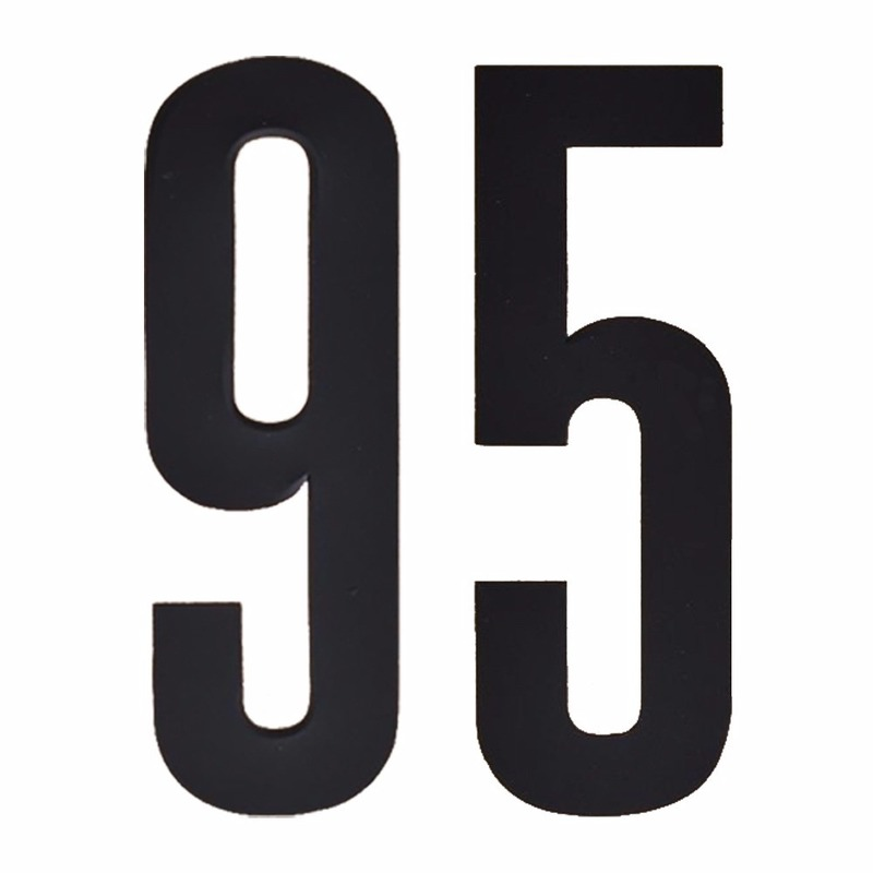 Cijfer sticker 95 zwart 10 cm