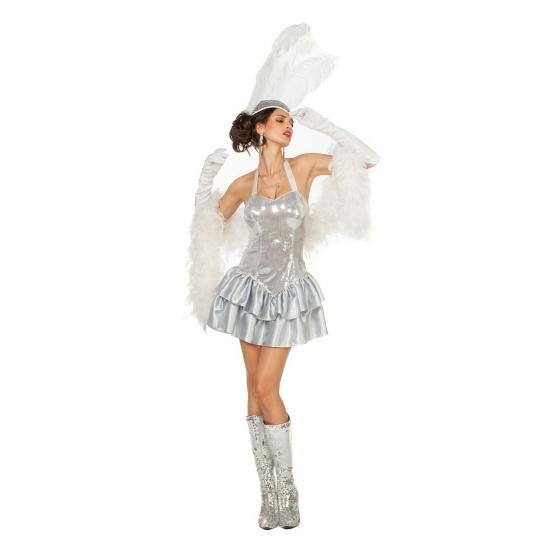 Circus dame jurkje met zilveren pailleten voor vrouwen