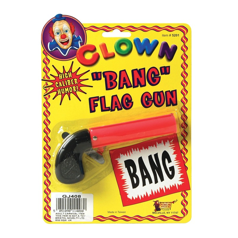 Clown pistool met bang vlag 10 cm