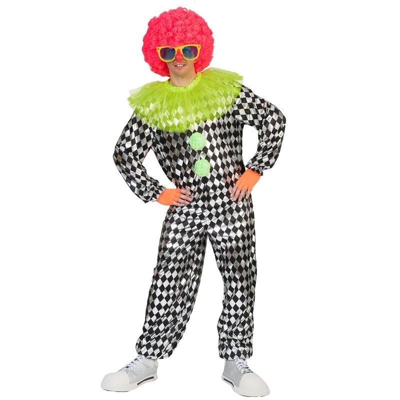 Clown verkleed overall zwart/zilver voor heren