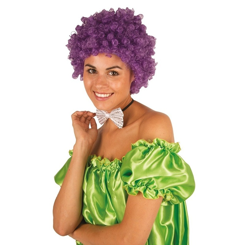 Clownspruik met paarse krulletjes verkleed accessoire