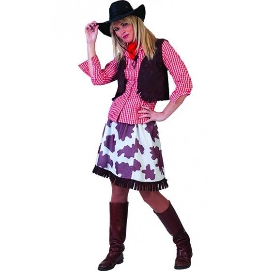Cowboy blouse voor dames rood/wit