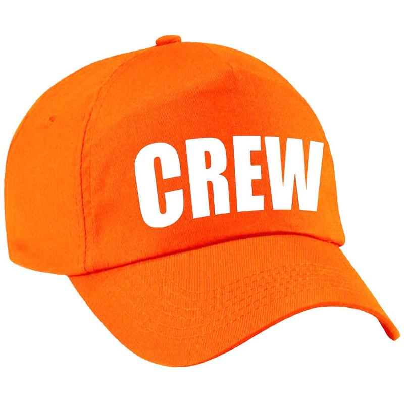 Crew pet /cap oranje met witte bedrukking meisjes en jongens