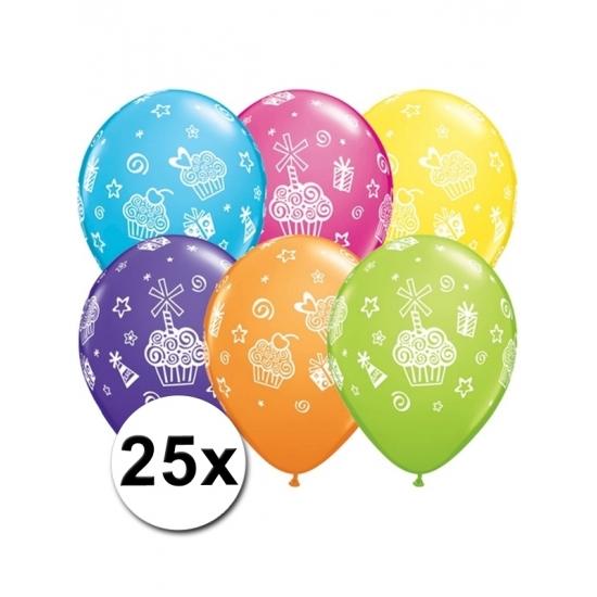 Cupcake thema ballonnen 25x