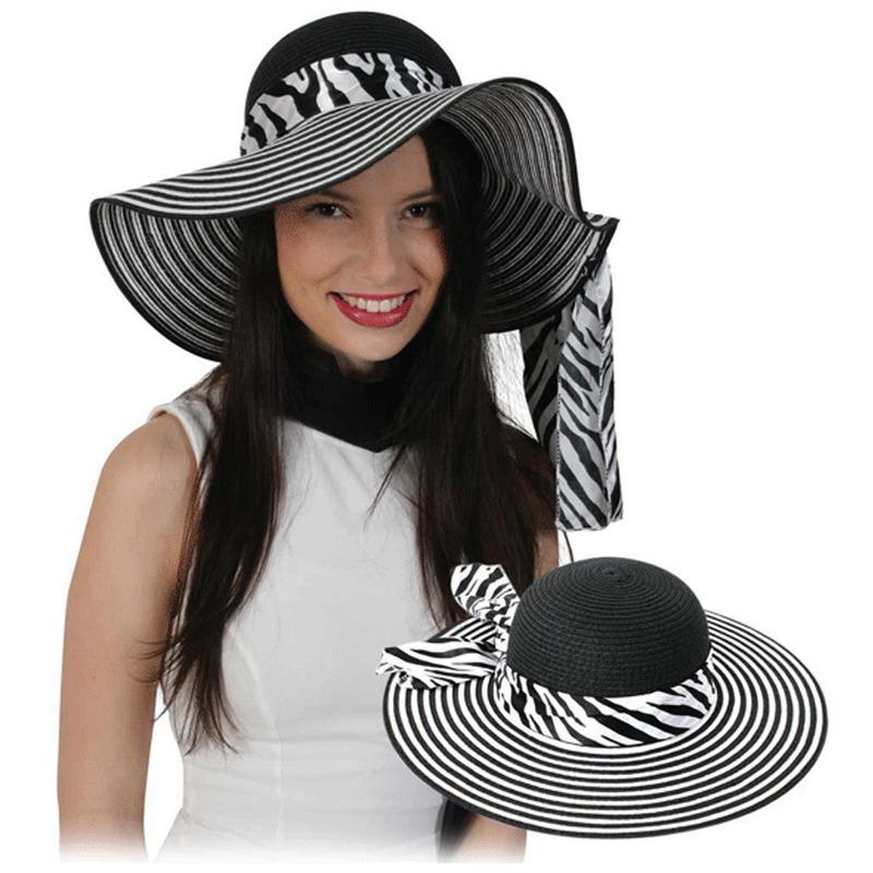 Dames hoed zwart met wit