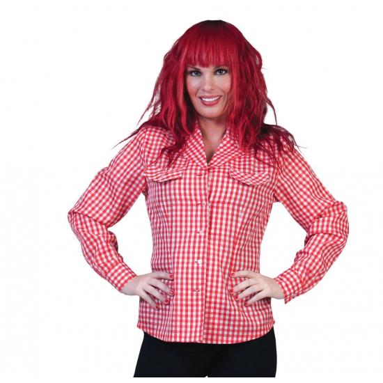 Dames Tiroler overhem/blouse d rood/wit