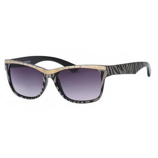 f17479f87b0425 Dames zonnebril tijgerprint zwart