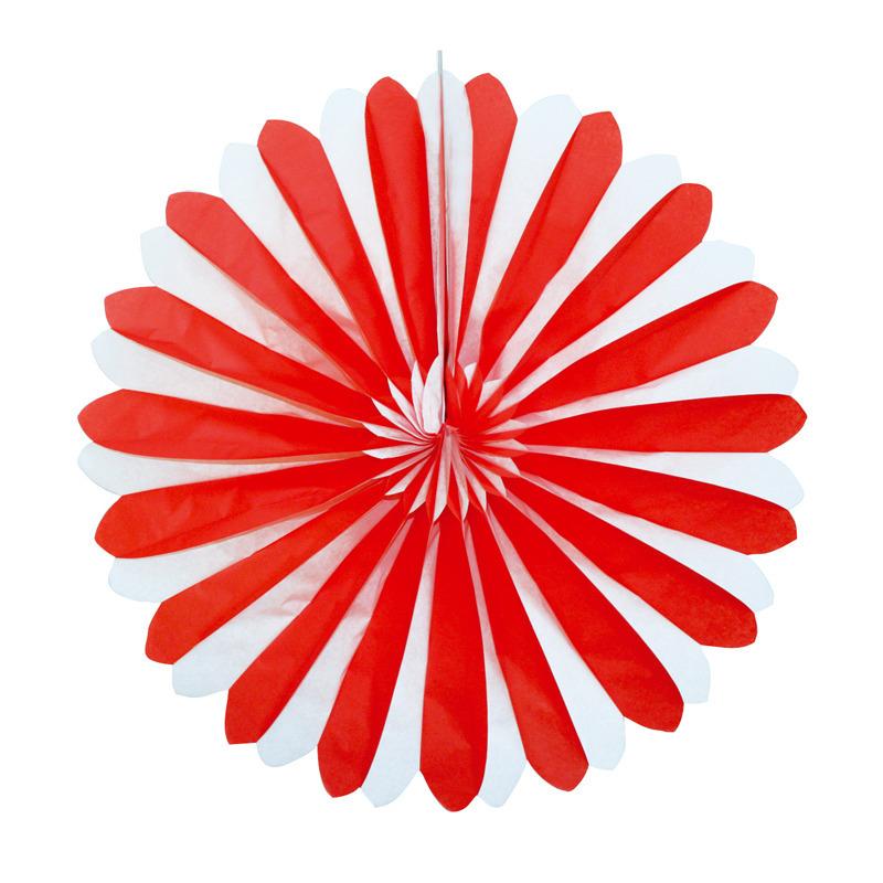 Decoratie waaiers rood/wit 35 cm
