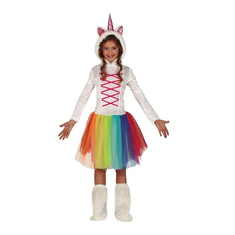 Merkloos Dierenpak eenhoorn jurk wit met capuchon voor meisjes
