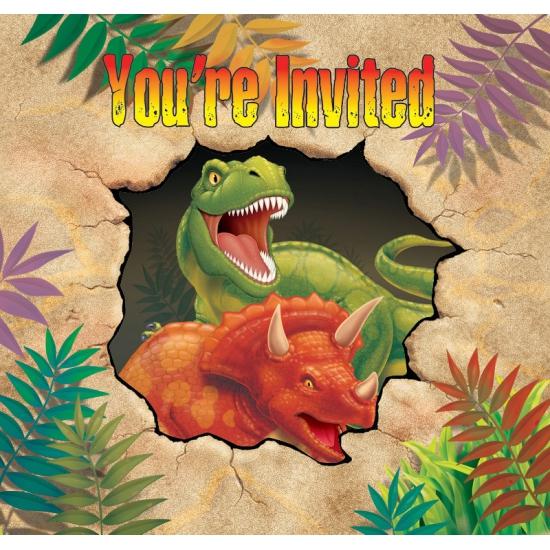 Dinosaurus uitnodigingen 8 stuks