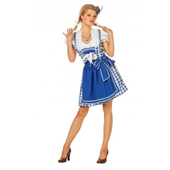 Dirndl jurk blauw met schort